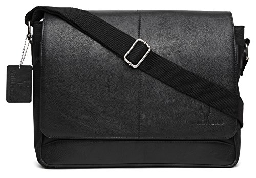 WildHorn Urban Edge Genuine Leather Nylon Laptop Messenger Bag