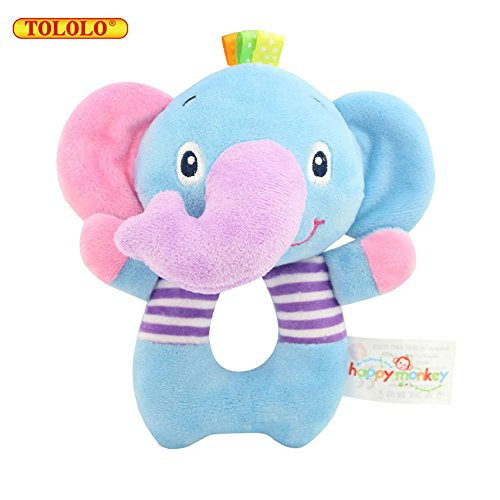 TOLOLO Elephant Soft Rattle Toy for Over 0 Months