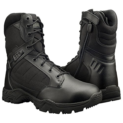 mens black boots with side zipper - 4