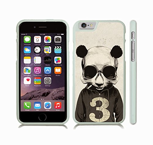 iStar Cases® iPhone 6 TPU Skin Cover with Smoking Panda Skull, Cool Design, Panda Skull in a Hoodie, Smoking , Rubber Grip, Slip-on TPU Soft Case (White)