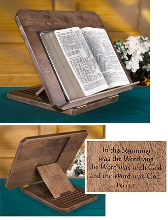 Wooden Bible Stand with Silk Screened John 1:1 Scripture Verse, 16 Inch