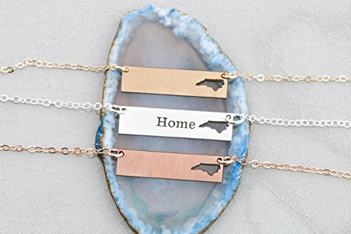 North Carolina BAR Necklace - IBD - Personalize with Name or Coordinates – Choose Chain Length – Ships in 1 Business Day - 935 Sterling Silver 14K Rose Gold Filled Layering Charm (Charlotte Bar 1)