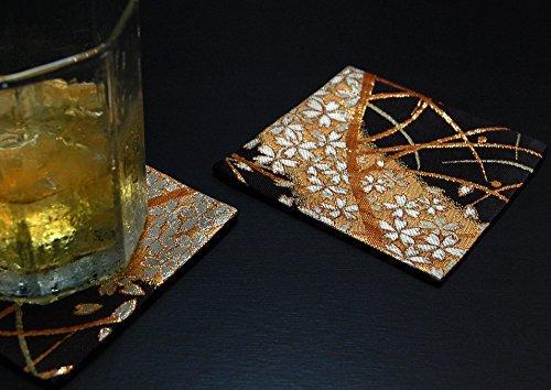 (KIMONO COASTER Japanese traditional fabrics Kinran 2 sheets set (Pattern name: Miyabi))