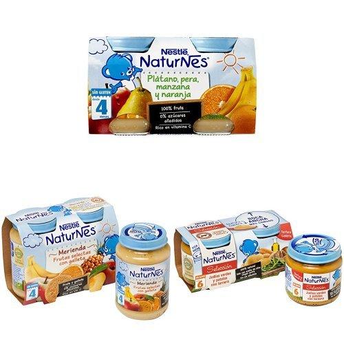Nestlé Naturnes - Frutas selectas con galleta (400 g) + Manzana Golden y Ciruela