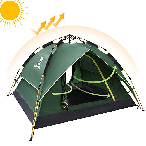 Camel Fourth-generation Automatic Hydraulic Tent for 2-3 Person Outdoor Rainproof Camping (Green) Compact Pop Up