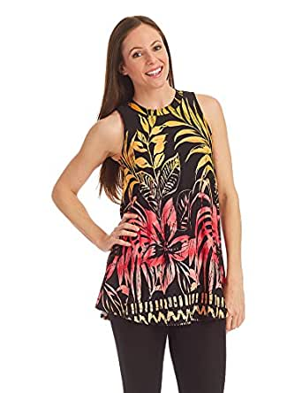 LL WT1297 Womens Print Round Neck Sleeveless Flare Top S PINK