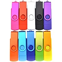 FEBNISCTE 10pcs 16GB Mix Color Micro USB 3.0 OTG Memory Stick for Android Smartphone/Tablet /PC