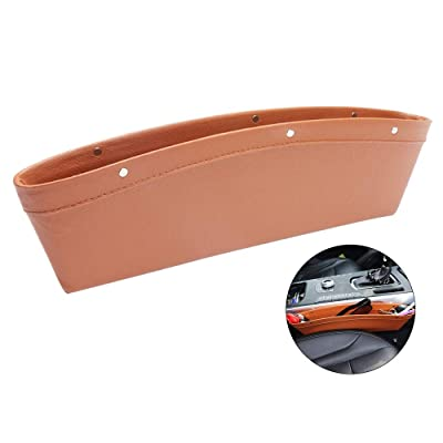 VECH Car Seat Gap Filler Premium Leather Car Seat Gap Organizer Car Seat Crevice Storage Box Car Seat Pockets for Holding Phone, Sunglasses, Keys, Coin Bag Universal Fit in Between Car Seat (Brown): Automotive