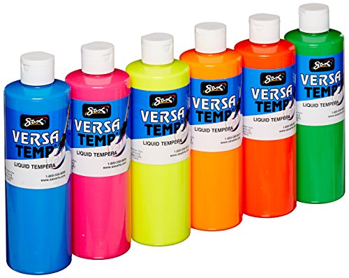 Sax Versatemp Tempera Paints, Assorted Fluorescent Colors, Set of 6 - 1440727 -