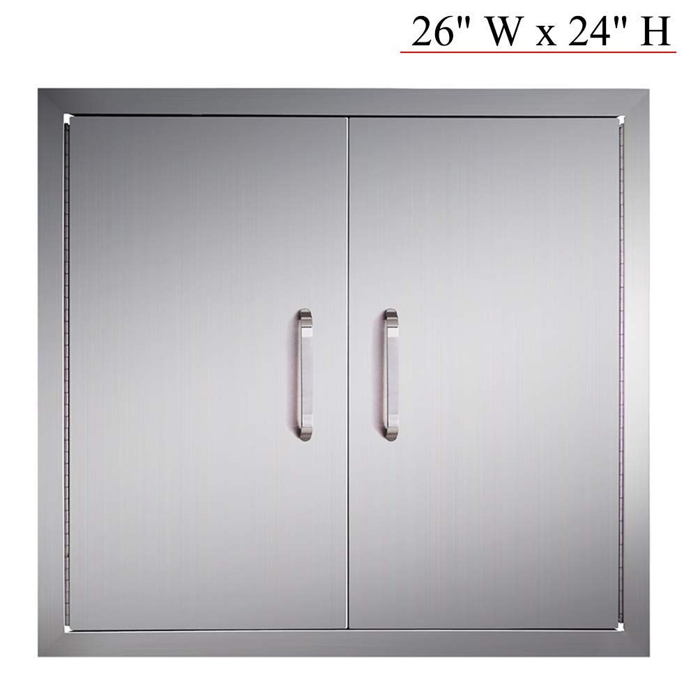 YXHARD Outdoor Kitchen Door, 304 Stainless Steel 26'' Wx 24'' H Double BBQ Access Door for Outdoor Summer Kitchen Grilling Station or Commercial BBQ Island by YXHARD