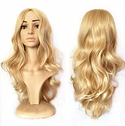 BlueSpace Wigs 28 Women Girls Long Curly Hair Heat Resistant Fiber With Free Wig Cap Halloween Cosplay Costume Party Anime Wigs