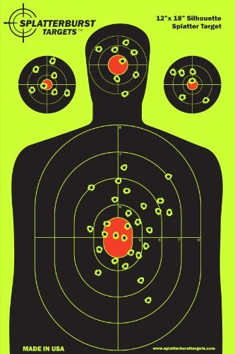 Splatterburst Targets - 12 x18 inch - Silhouette Reactive Shooting Target - Shots Burst Bright Fluorescent Yellow Upon Impact - Gun - Rifle - Pistol - AirSoft - BB Gun - Air Rifle (10 pack) - Shotgun Shooting Accessories