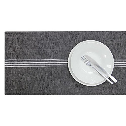 Aubina Oxford Stripe Table Runner, 100% Cotton, Modern Table Linen, Embroidered Striped Fabric, Luxury Natural Tableware, 33cm x 180cm, Linen, Beige