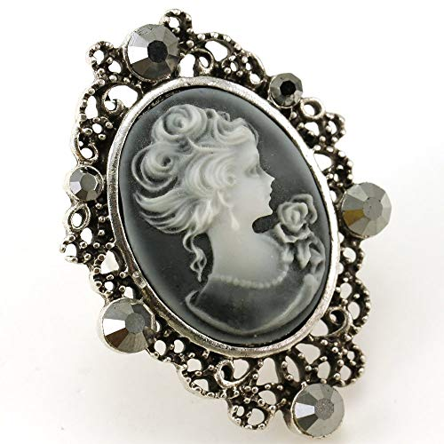 Soulbreezecollection Gray Cameo Ring Adjustable Band Women Fashion Jewelry