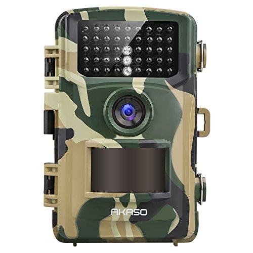 AKASO 14MP Trail Camera Night Vision 1080P Hunting Camera IP66 Waterproof Game Camera 120 Degree Wide Angle with 2.4 Inch LCD- Loop Recording