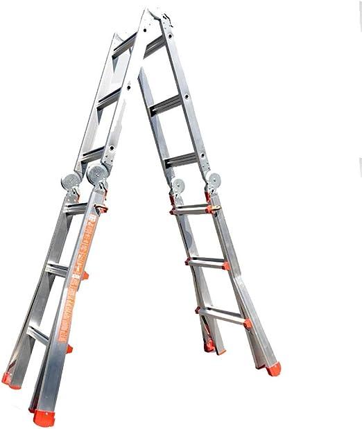PENGFEI Escalera Telescópica Plegable Escaleras Decoración Hogareña Antideslizante, Aluminio, 5M / 7M (Color : A): Amazon.es: Hogar