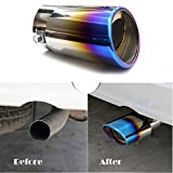 """Universal Fits Slant Burnt Stainless Steel EXHAUST tip Car Muffler Tail pipe Fit Pipe Diameter 1 1/2"""" TO 2"""""""