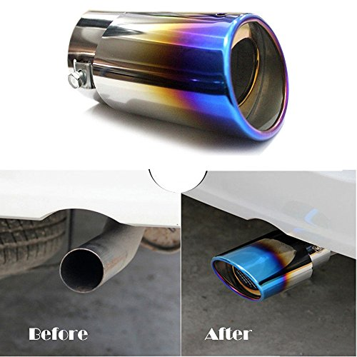 Super PDR Universal Fits Slant Burnt Stainless Steel EXHAUST tip Car Muffler Tail pipe Fit Pipe Diameter 1 1/2