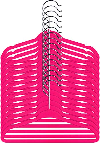 (Utopia Home Kids Velvet Hangers - Pack of 25 - Small Clothes Hanger - Non Slip - Space Saver - Pink Color)