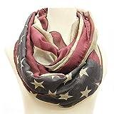 vintage american flag scarf - E-FirstFeeling American Flag Infinity Scarf Vintage USA Flag Loop Circle Scarf