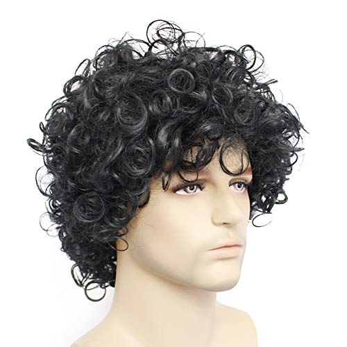 Anogol Free Hair Cap+Disco Wig for Men Mullet Wigs for Men Short Curly Black Wigs for Punk Rock Wig  - http://coolthings.us