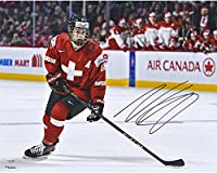 "Nico Hischier New Jersey Devils Autographed 16"" x 20"" Team Switzerland 2017 World Junior Championships Photograph - Fanatics Authentic Certified"