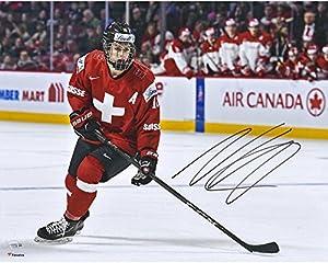 "Nico Hischier New Jersey Devils Autographed 16"" x 20"" Team Switzerland 2017 World Junior Championships Photograph - Fanatics Authentic Certified"
