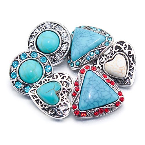 Soleebee 6pcs Mixed Alloy Rhinestones Snap Buttons Jewelry Charms (Turquoise)