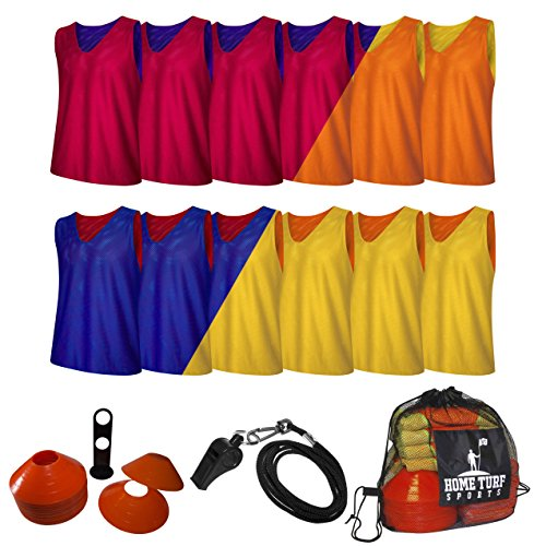 Practice Jerseys Pinnies Equipment Youth/Adult Scrimmage Team Training Mesh Vests for Soccer, Lacrosse, Basketball, Team Sports. Orange/Yellow, Large. 3 sizes, 2 color options! By Home Turf Sports ()