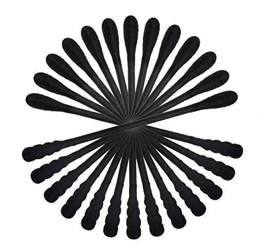 미니케이팅 100 개 BLACK 면봉을 가진 마분지 손잡이 3 인치 싹이 나선 두 배 머리 다목적 짧은 자연 애플리케이터 메이크업 제거 작은 부품 청소기(검은 색)