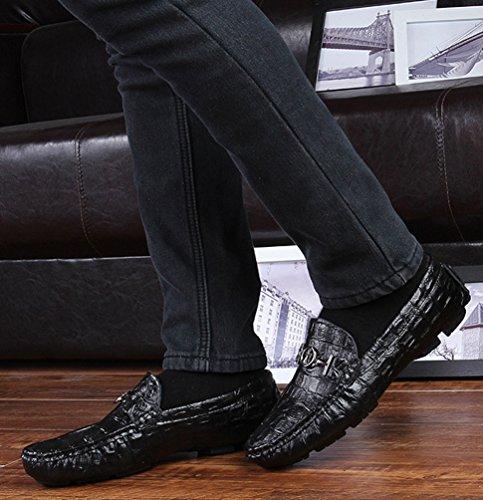 Uomo Loafers Scarpe On Moda Barca Da Mocassini Slip Damen Pelle Nero 1 Piatto Anguang Di Guida Pu Unisex zxqz6Zw