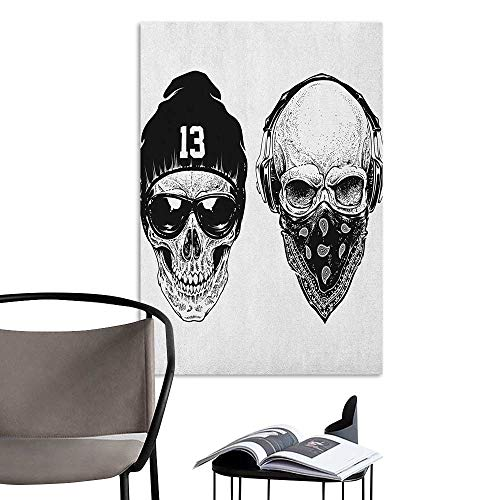 Wall Sticker self-Adhesive Skull Funny Skull Band Dead Street Gangs with Bandanna Hood Rapper Style Grunge Print Black White Stair Elevator Side W24 x H36