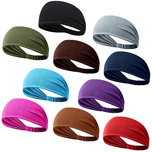 DASUTA Set of 10 Womens Yoga Sport Athletic Workout Headband for Running Sports Travel Fitness Elastic Wicking Non Slip Lightweight Multi Style Bandana Headbands Headscarf fits All Men & Women