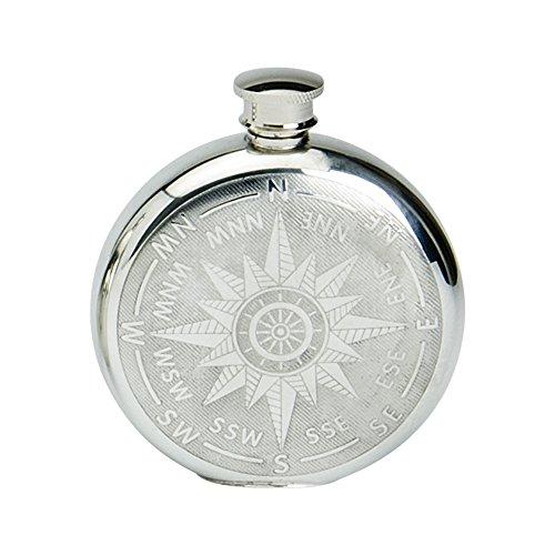 - Edwin Blyde & Co Spirit Flask - Round Shape with Classic Compass Design, 6 oz, Pewter, 14 x 10 x 4 cm