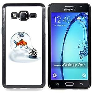 "Qstar Arte & diseño plástico duro Fundas Cover Cubre Hard Case Cover para Samsung Galaxy On5 O5 (Bombilla Metáfora Goldfish minimalista Luz Blanca"")"