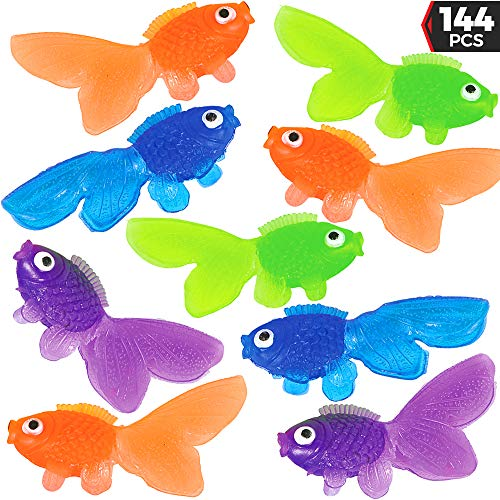 Assorted Vinyl Goldfish (Bulk 144 Pieces) Happy Looking Gold Fish For Summer Party's, Kids Craft, School Project, Carnival Game, Birthday Table -