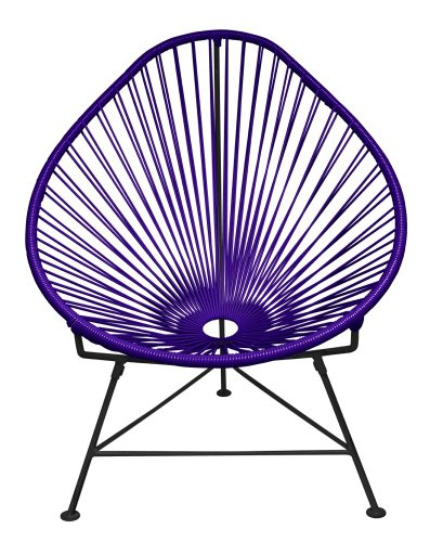 Innit Designs Acapulco Chair, Purple Weave on Black Frame