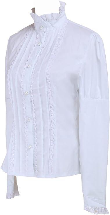 Blanca Algodón Encaje Volantes Stand-up Collar Victoriana Lolita Camisa Blusa de Mujer: Amazon.es: Ropa y accesorios