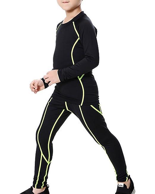 Chicos Compresión Camiseta De Manga Larga+Pantalones Leggings Gimnasio Aptitud Ropa Interior Conjuntos Verde Xs