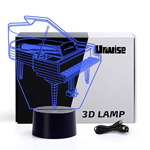 Piano 3D optical illusion night lights, seven color variations, smart touch button USB and battery power, amazing creative art design for children's Christmas gifts