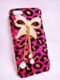 Luxury Pearl pink Leopard Crystal Diamond Rhinestones BOW bow-knot Flower Transparent Back Hard Case Cover Shell for Samsung Galaxy Mobile LG iphone HTC Cell Phone (Samsung Galaxy Note 3 Note III N9000, PINK)
