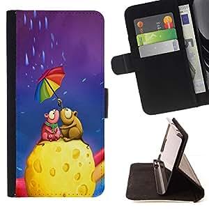Momo Phone Case / Flip Funda de Cuero Case Cover - Queso colorido paraguas del arco iris del arte del amor - MOTOROLA MOTO X PLAY XT1562