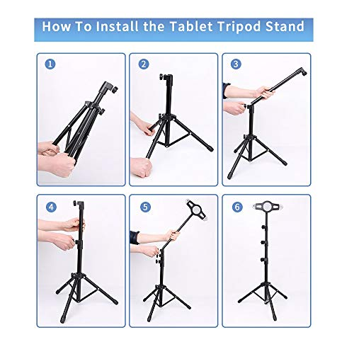 iPad Tripod Stand, LetsRun Height Adjustable Foldable Floor Tablet Tripod Stand for iPad Mini, iPad Air, iPad 1,2,3,4 and All 8-12 Inch Tablets, Carrying Case as Gifts