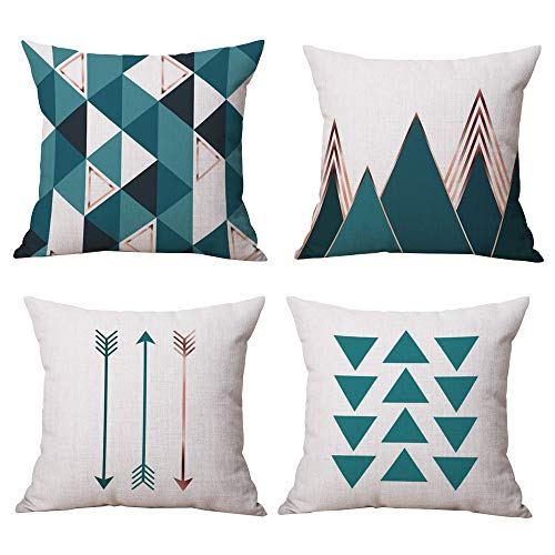 (Yokepo Durable Cotton Linen Square Decorative Throw Pillows Cushion Covers Cases Pillowcases for Sofa 18 x18 inch Set of 4 - Cyan Series)