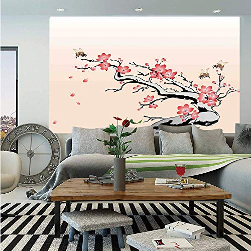 House Decor Huge Photo Wall Mural,Flowering Cherry Branch with Flying Bees Summer Garden Windy Day Nature Artwork,Self-Adhesive Large Wallpaper for Home Decor 108x152 inches,Pink Black Gray -