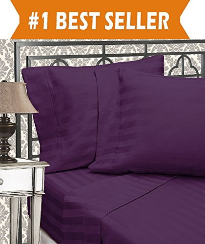 Elegant Comfort Best, Softest, Coziest 3-Piece Duvet Cover Sets! - 1500 Thread Count Egyptian Quality Luxurious Wrinkle Resistant 3-Piece DAMASK STRIPE Duvet Cover Set, Full/Queen, Eggplant/Purple (Duvet Dobby Stripe Set)
