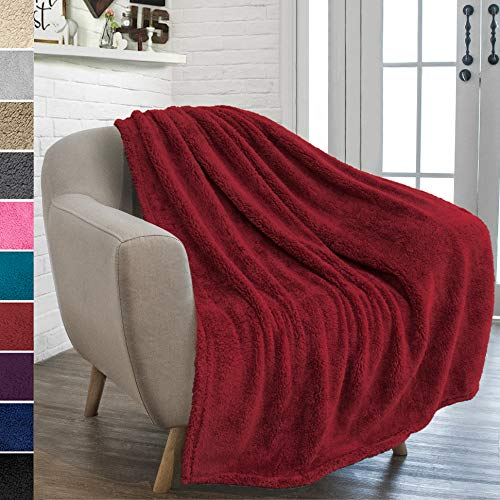PAVILIA Plush Sherpa Throw Blanket for Couch Sofa | Fluffy Microfiber Fleece Throw | Soft, Fuzzy, Cozy, Shaggy, Lightweight | Solid Wine Red Blanket | 50 x 60 Inches