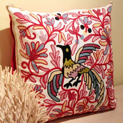 Pillow-Cases Cotton Linen Embroidery Pillowcase Red Phoenix Throw Pillow Cushion Covers (one side printing 45 X 45 cm)