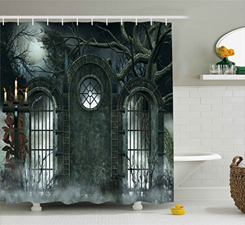 Horror House Decor Shower Curtain by Ambesonne, Moon Halloween Ancient Historical Gate Gothic Background Candles Fiction View, Fabric Bathroom Decor Set with Hooks, 70 Inches, Hunter Green