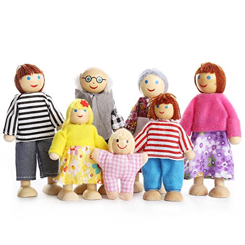 PUCKWAY Kids Girls Lovely Happy Dolls Family Playset Wooden Figures Set of 7 People for Children Dollhouse Pretend Gift (Hope Dolls)